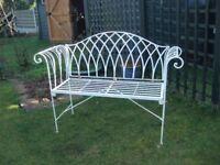 Elegant White Painted Metal Garden Seat Bench