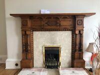 Original Victorian Large Oak Fireplace Frame