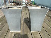 Two Tall Square Galvanised Metal Planter Pots