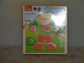 Viga Childrens Wooden Dress Up Bear, Puzzle Play Set. New.