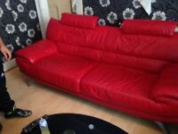 Modern 3 seater red leather Sofa. Bargain price