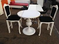 Stunning high gloss white table and 2 chairs