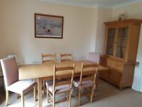 Marks and Spencer Appalachian Wood extendable dining room table and 6 chairs with matching wall unit