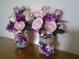 Pair of artificial flower arrangements