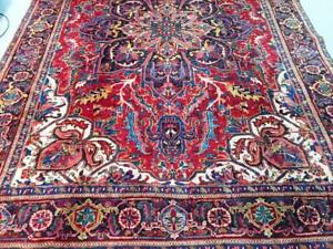 Heriz Semi-Antique Persian Rug, Handmade Carpet, Wool, Navy Blue, Light Blue, Green, brown, Orange, Burgundy and Red