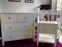 White next girls bedroom furniture set, bedside table, chest of drawers, bookcase