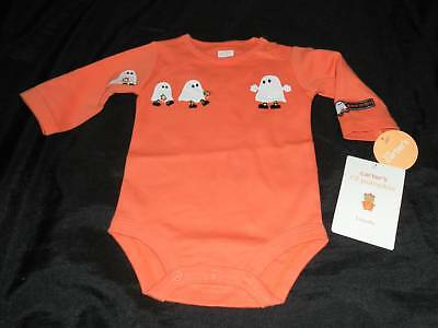 NWT Carters Babys 1ST First HALLOWEEN Bodysuit Shirt 3 Ghosts Orange Boys Girls - Babys First Halloween