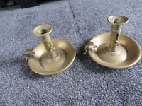 Pair of Antique Brass Chamber Candlesticks - collect Horndean