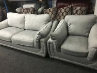 New/Ex Display Dfs Cargo Grey 3 Seater Sofa + 1 Seater Chair