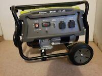 BRAND NEW: Ryobi RGN2500: 2500W Portable Petrol Generator: 3 Pin 230V Plug (x2) Outlets