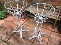 Pair of heavy, metal jardinières