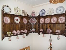 2 PINE PLATE RACK WALL MOUNTED PLUS 1 CORNER ONE USED ITEM BUT VERY GOOD CONDITION