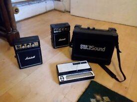 2x Mini Marshall amps, StarSound mini amp and stylophone job lot