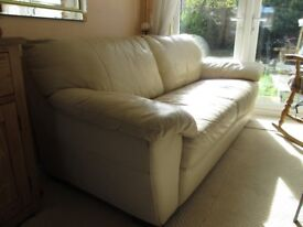 CREAM LEATHER SOFA - WIDE TWO SEATER