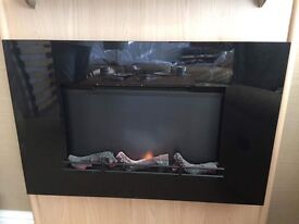 WALL MOUNTED REALISTIC FLAME & LOG EFFECT 2KW ELECTRIC FIRE WITH REMOTE CONTROL (VERY MODERN)