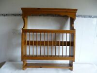 Wall Mounted Antique Pine Plate Rack for sale