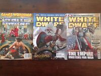 Over 100 Games Workshop White Dwarf magazine back issues ranging from #130 to #354