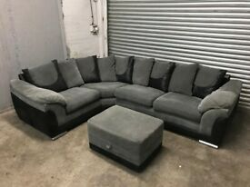 FREE DELIVERY GREY & BLACK FABRIC L-SHAPED CORNER SOFA & FOOTSTOOL GOOD CONDITION