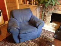 Super Comfy Blue Suede Armchair