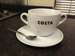 COSTA COFFEE LARGE CUP DOUBLE HANDLE WITH SAUCER MASSIMO MUG 20oz Marked