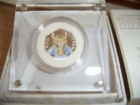 Beatrix Potter and her little tales, Tom Kitten Silver proof 50p coin by Royal Mint.