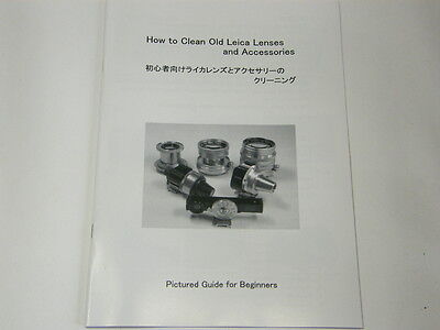 How to Clean Old Leica Lenses and Accessories, Manual for summicron,summaron