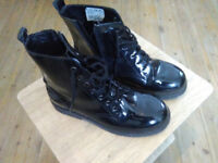 Girls Clarks Patent Boots Size 2F