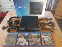 500GB PlayStation 4 Console, 4 Games and Headset in Great Condition