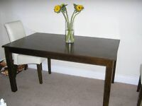 DARK WOOD DINING TABLE WITH FOUR CREAM CHAIRS