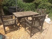 Wooden garden table and chairs