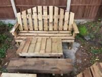 Garden bench,table and sleeper bench set