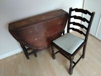 Old oak drop down dining table plus four chairs - Staple Hill