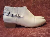NU Cream Leather Ankle Boots - Size 6