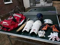 Slazenger Cricket/Sports Bag with Youth helmet, Bat, Pads, batting and wicket keeping gloves - used.