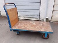 Industrial Platform Trolley Pull Push Along Flat Bed Truck Workshop Garage Warehouse Heavy Duty