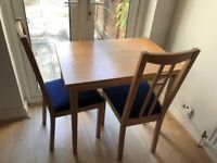 IKEA Extending dining table + pair of Aron chairs
