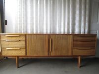 VINTAGE MORRIS OF GLASGOW MID CENTURY LARGE WALNUT DOUBLE DOOR SIX DRAWER SIDEBOARD FREE DELIVERY