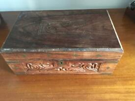 Antique stationery box with hidden compartments