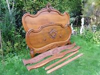 ORIGINAL ORNATE ANTIQUE FRENCH LOUIS PHILIPPE ROCOCO WALNUT BED