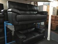 Reid Abella Black Leather 3 Seater + 2 Seater Sofa NEW/Ex Display