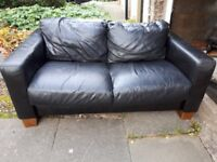 BLACK LEATHER SOFA £20