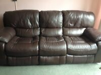 sofa three seater with two reclinring seats chocolate brown leather non smoke household £150