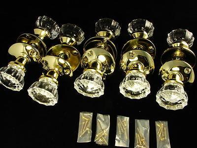 (X 5) ANTIQUE STYLE GLASS DOOR KNOB & ROSETTE SETS NEW DOORKNOBS CRYSTAL