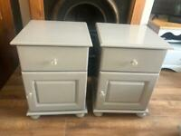 Upcycled solid country pine pair of bedside units, painted grey with glass knobs