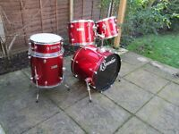 Drums - Beginners Ridgewood Shell Pack 5 Drum Kit Red Sparkle Optional Cheap Hardware and Cymbals