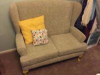 Small sofa, like new. Annie Sloan yellow chalk legs. Cushion incl