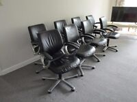 8 x Girsberger Black Leather Chrome Boardroom Office Chairs (Free Local Delivery)