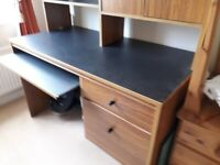 2 drawer pedestal desk with pull-out keyboard shelf