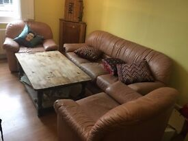 SOFA + TWO ARMCHAIRS - PINK LEATHER - LOOKING FOR QUICK SALE - WILL TAKE OFFERS