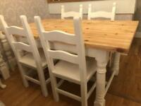 REDUCED - 5ft Shabby Chic Farmhouse Chunky Pine Table and 4 lovely Chairs